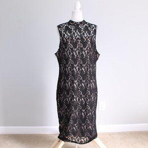 Love, Fire Black Lace Body Con Halter Neck Dress